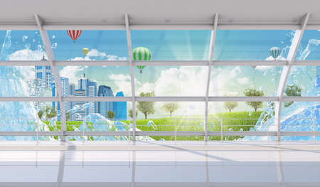 window view: Interior with window view on cityscape and balloons