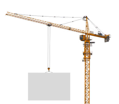 tower crane: Building crane holding blank paper on isolated white background Stock Photo