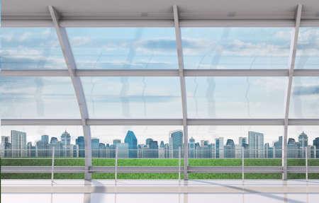 window view: Cityscape outside window, fine weather, interior view