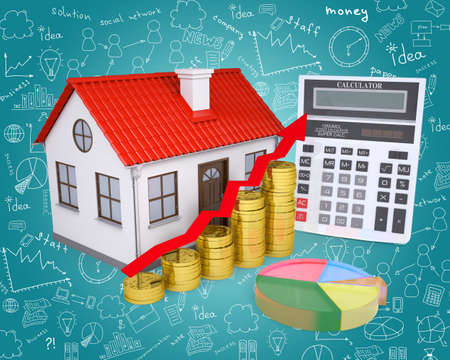 small house: Small house with red roof and calculator on abstract blue background with different symbols Stock Photo