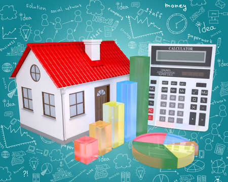 small roof: Small house with red roof and graphical charts on abstract blue background with different symbols Stock Photo