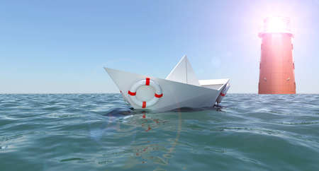 paper boat: Paper boat in sea with safety ring and lighthouse Stock Photo
