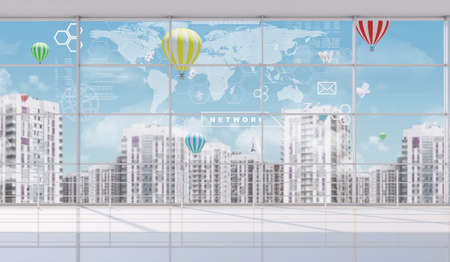 a window on the world: Cityscape outside window with world view, fine weather with balloons, indoor view