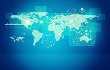 graphical: Abstract blue background with world map, graphical charts, molecule model