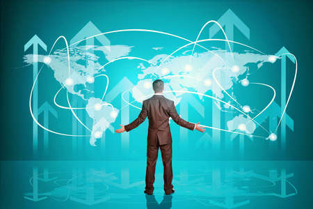 Businessman throwing up his hands in front of holographic screen with arrows up, back view. Virtual background photo