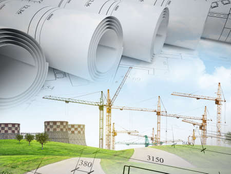 npp: Field with building crane under blue sky with road and trees on abstract background with sketches
