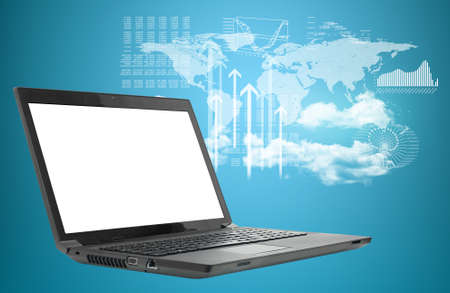 virtual world: Laptop on abstract background with map, clouds and up arrows. Virtual world map. Stock Photo