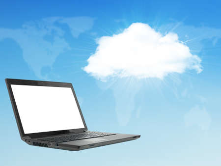 virtual world: Laptop on abstract background with cloud. Virtual world map.