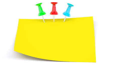 drawing pins: Yellow sticker with drawing pins on isolated white background Stock Photo