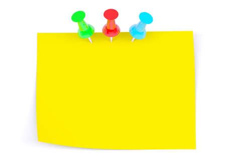 drawing pins: Yellow sticker with three drawing pins on isolated white background