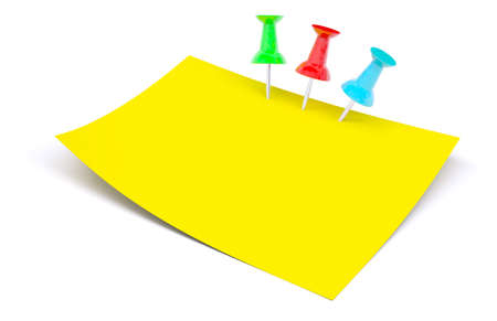 drawing pins: Yellow sticker with drawing pins on isolated white background, side view