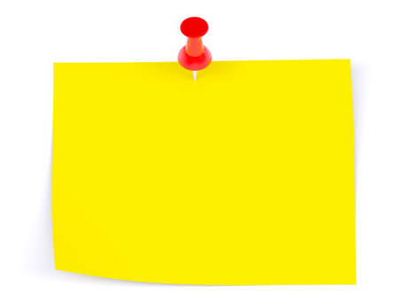 drawing pin: Yellow sticker with red drawing pin on isolated white background, front view Stock Photo