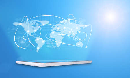 virtual world: Tablet with virtual world map, graphs and connected lines on blue background