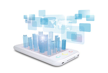 virtual world: Smartphone with virtual world map and cityscape on isolated white background