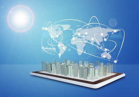 virtual world: Tablet with virtual world map, cityscape and connected lines on blue background