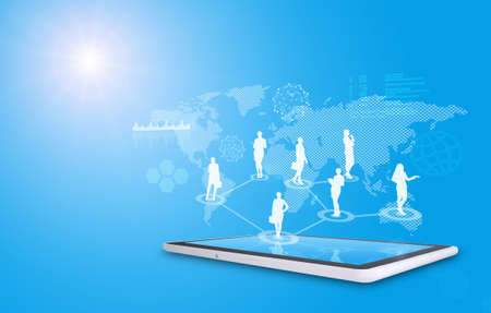 virtual world: Set of businesswomen silhouette above tablet with virtual world map on blue background