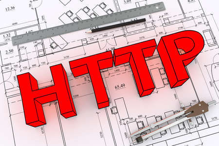 http: Engineering drawing with big red word http