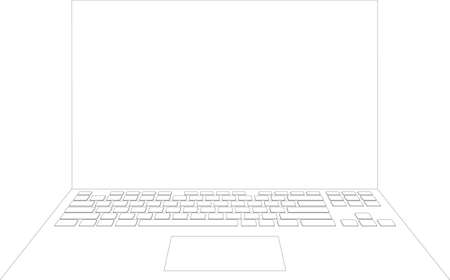 touch pad: Laptop sketch on isolated white background, vector image Illustration