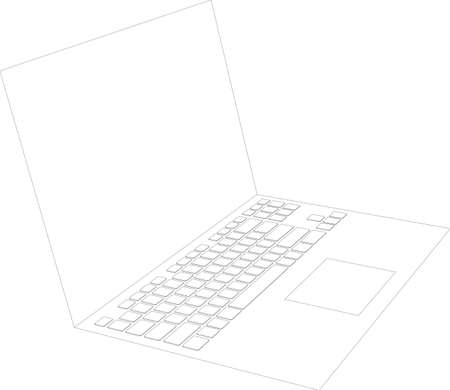 isolated on white: Laptop sketch on isolated white background, vector image. Side view Illustration