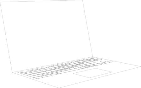 side view: Laptop sketch on isolated white background with keyboard, vector image. Side view