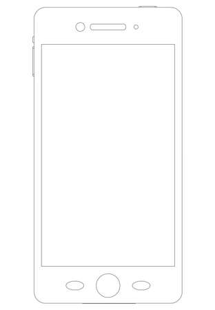 isolated on white background: Sketch of smartphone on isolated white background, front view Illustration