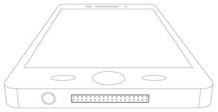 isolated on white: Sketch of smart phone on isolated white background, bottom view Illustration