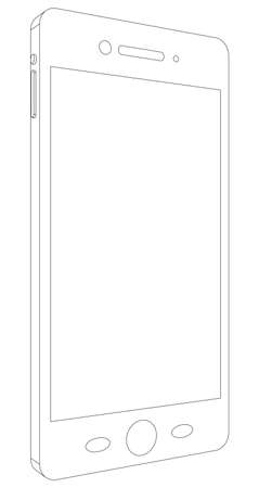 side view: Sketch of smart phone on isolated white background, side view
