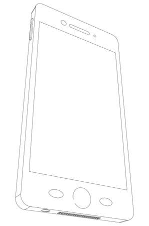 bottom: Sketch of smart phone on isolated white background, bottom side view