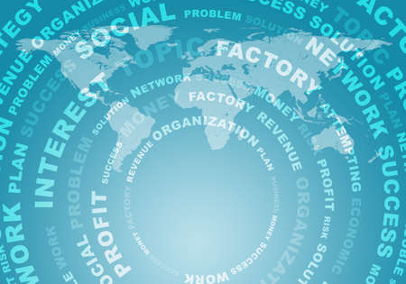 virtual world: Adstact background with business words arranged in a circles on virtual world map