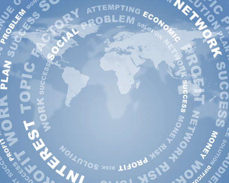 virtual world: Adstact background with business words arranged in a circles on virtual world map model Stock Photo