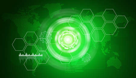 virtual world: Abstract green background with virtual world map