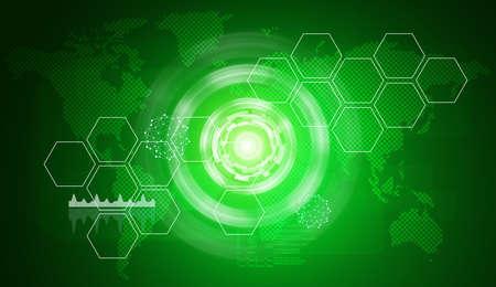 fondo verde abstracto: Fondo verde abstracto con mapa del mundo virtual de