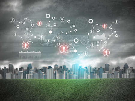 holographic: Cityscape with holographic screen and virtual icons, red spots Archivio Fotografico