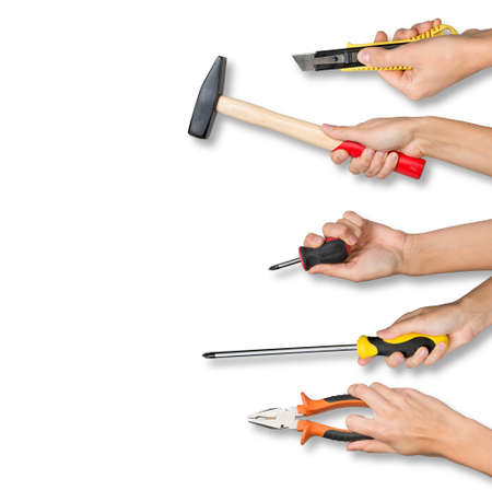 upkeep: Set of peoples hands holding different tools from right side on isolated white background