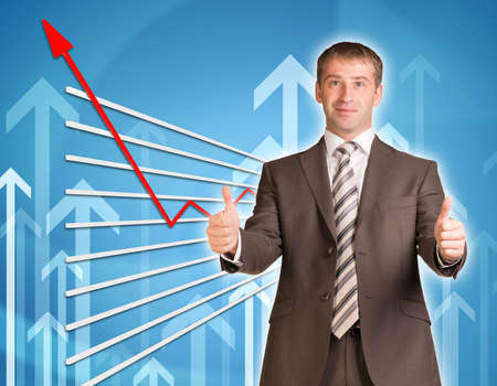 graphical: Businessman in suit and graphical chart on abstract blue background