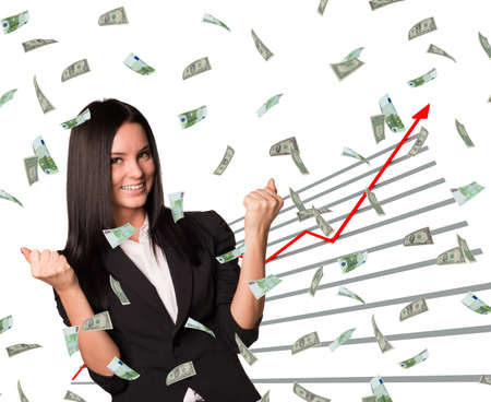 money rain: Businesswoman and graphical chart under money rain on isolated white background Stock Photo