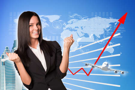 virtual world: Businesswoman and graphical chart on abstract blue background with virtual world map