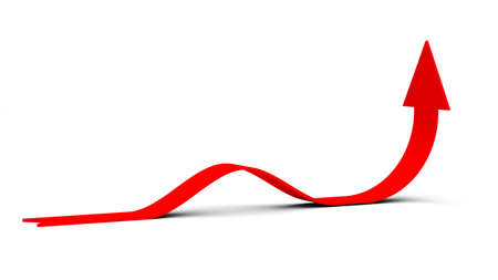 curving: Red curving rising arrow on isolated white background