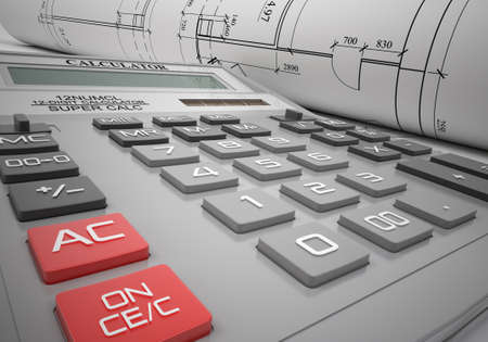 closeup view: Close-up view of calculator with charts, side view Stock Photo