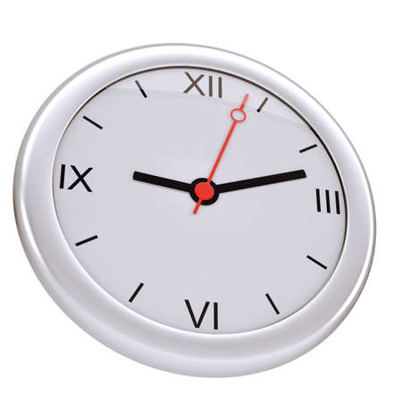 minute hand: Round clock with numbers on isolated white background