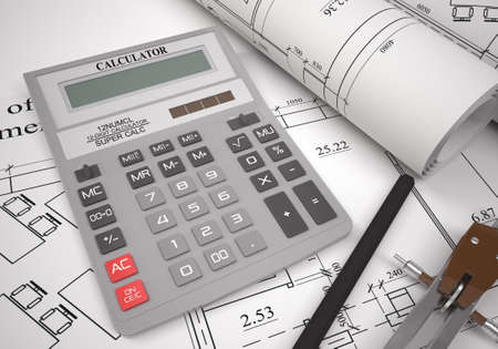 graphical: Calculator with graphical charts and drawing stuff Stock Photo