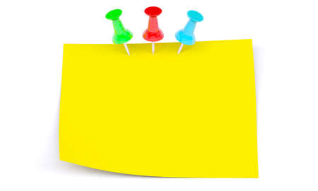 drawing pins: Yellow sticker with colorful drawing pins on isolated white background Stock Photo
