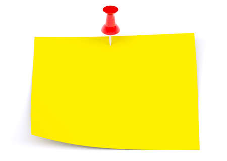 drawing pin: Yellow sticker with red drawing pin on isolated white background Stock Photo