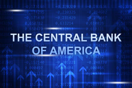 the central bank: Abstract blue background with numbers, arrows and the central bank of america words Stock Photo
