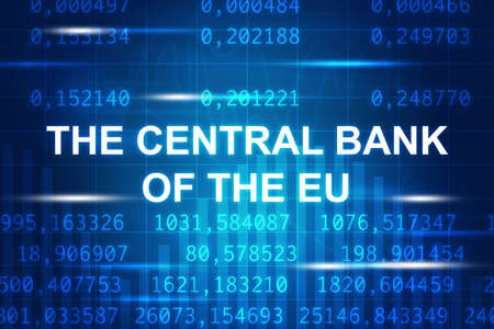central bank: Abstract blue background with numbers and the central bank of eu words