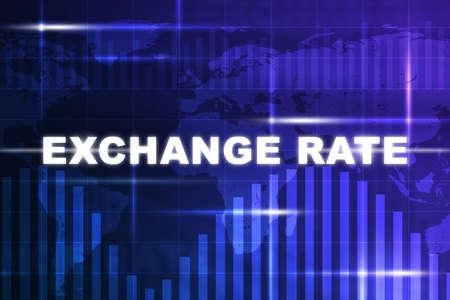 Abstracte blauwe achtergrond met wisselkoers woorden en wereldkaart