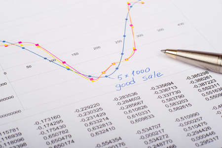graphical: Document with numbers, pen and graphical charts, close up view Stock Photo