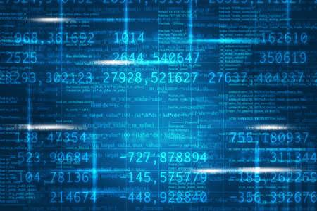 Abstracte matrix blauwe achtergrond met cijfers en formule Stockfoto
