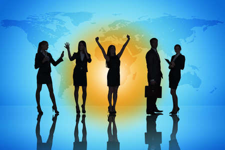 Group of business people on abstract colorful background photo