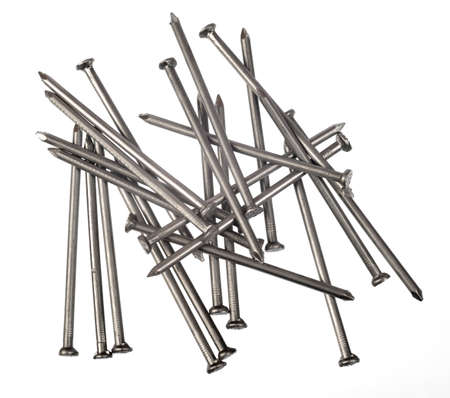 scattered on white background: Set of new scattered nails on islolated white background